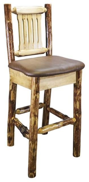 Barstool With Buckskin Pattern Rustic Bar Stools And