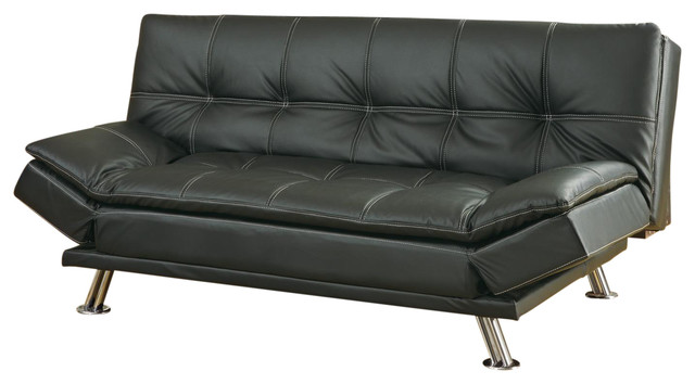 Metal Leg Faux Leather Sofa Bed Futon Black Not Include Ottoman Contemporary Futons