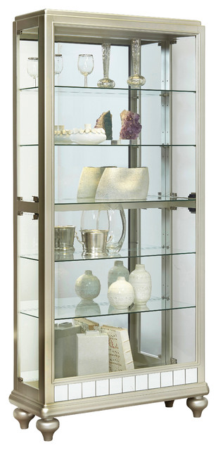 Lovely Brianne Mirrored Metallic Display Cabinet