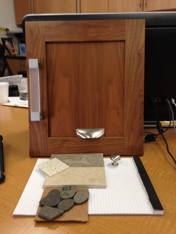 Cabinets - Walnut stain vanity, shaker door &  brushed nickel pulls
