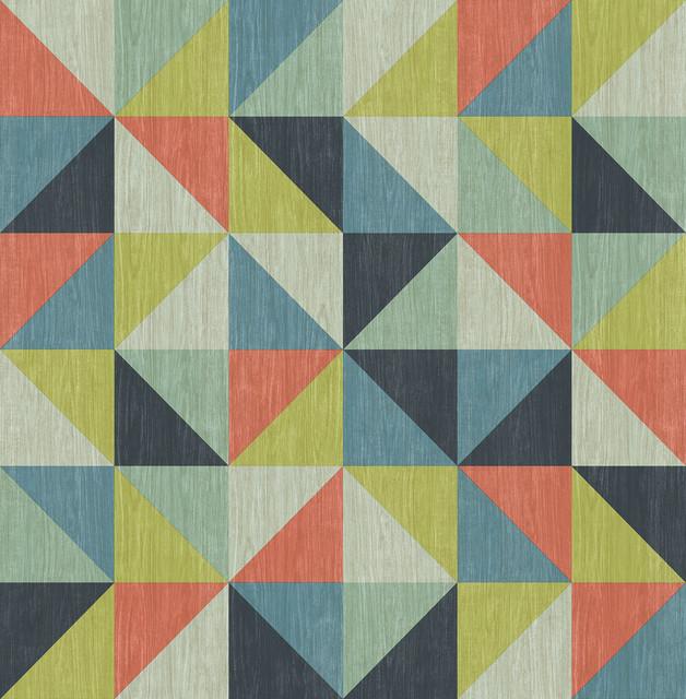 Puzzle Blue Geometric Wallpaper Bolt