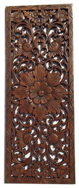 """Floral Wood Carved Wall Panelwood Wall Art Large Wood Wall Plaque 35.5""""x13.5""""."""