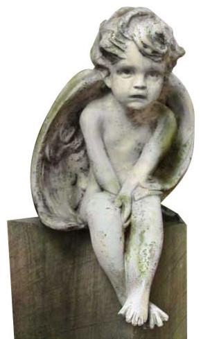 Meditation Cherub Small 12 Garden Angel Statue Traditional
