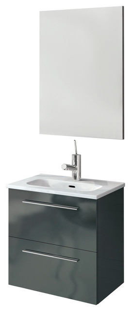 Street 2 Drawer Floating Bathroom Vanity Set High Gloss Gray 20 Contemporary Bathroom