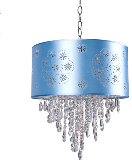 1 Light Crystal Pendant In Chrome Finish With Baby Blue Shade And