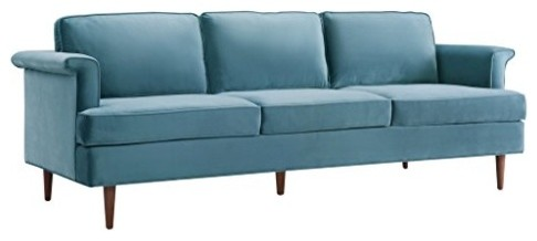 Ariel 3-Seater Velvet Sofa, Sea Blue