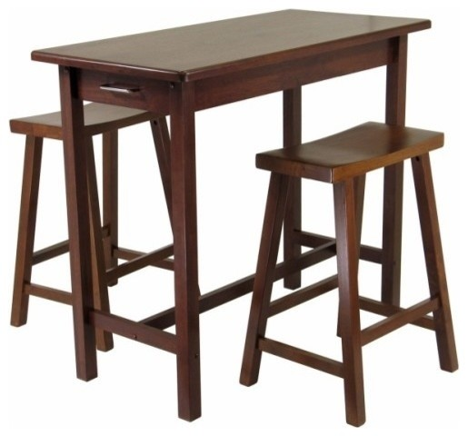 Sally 3 Piece Breakfast Table Set With 2 Saddle Seat Stools