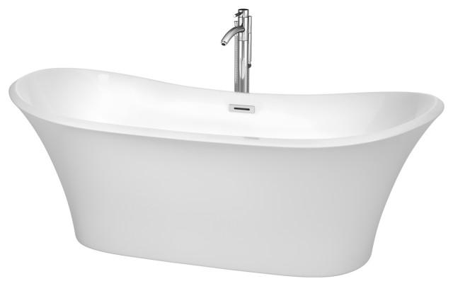 "Bolera 71"" Freestanding White Bathtub, Polished Chrome Tub Filler and Trim Kit"