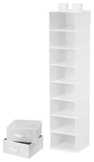 8 Shelf Organizer With 2 Drawers, White. -1