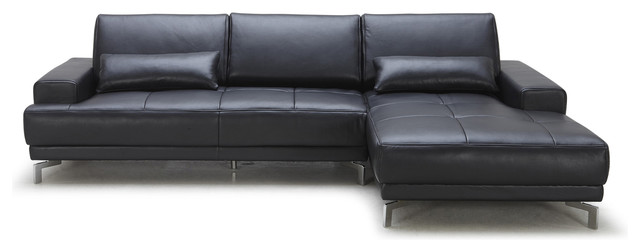 Black Rocco Sectional Sofa, Right Chaise.