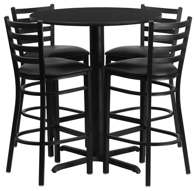 Flash Furniture 30&x27;&x27; Round Black Laminate Table Set With Chairs.