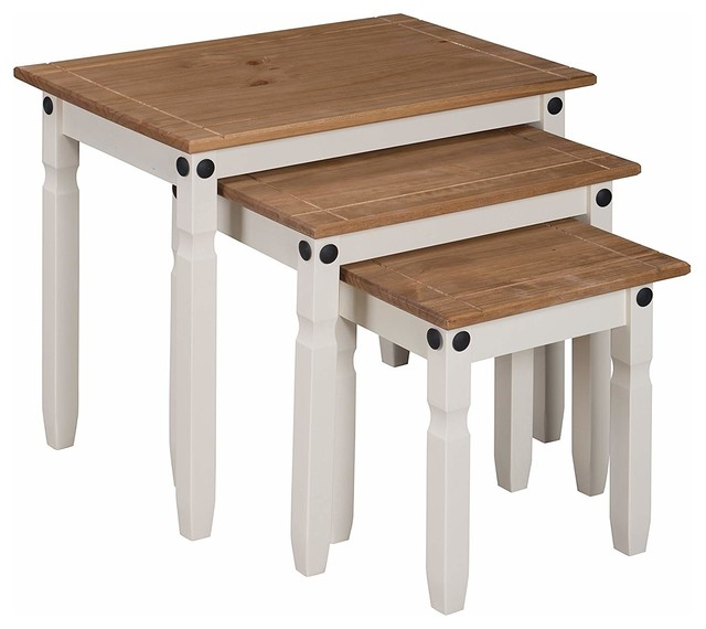 Marvelous Set Of 3 Nesting Tables In White Painted Mdf And Oak Table Top Traditional Style Beutiful Home Inspiration Xortanetmahrainfo