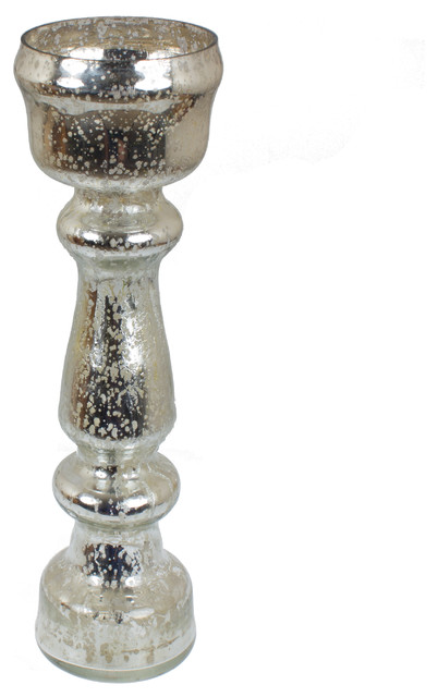 12 5 Quot Mercury Glass Tall Silver Flower Vase Traditional