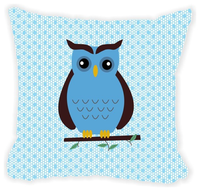 Brown Microfiber Throw Pillows : Blue and Brown Deco Owl Microfiber Throw Pillow - Contemporary - Decorative Pillows - by Rikki ...