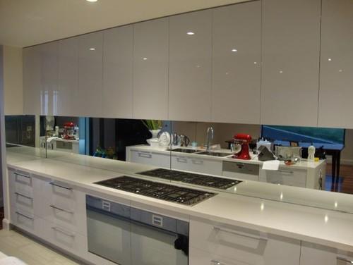 White Kitchen Mirror Splashback white glass or mirror splash back in kitchen??