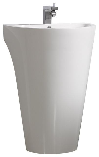 Fresca Parma 24 White Pedestal Sink Medicine Cabinet Modern