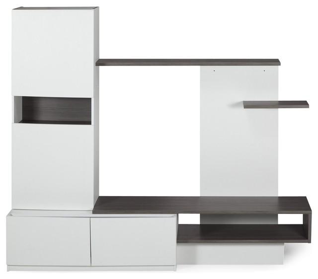 Fabio grand meuble tv avec rangements contemporain for Meuble tv avec rangement