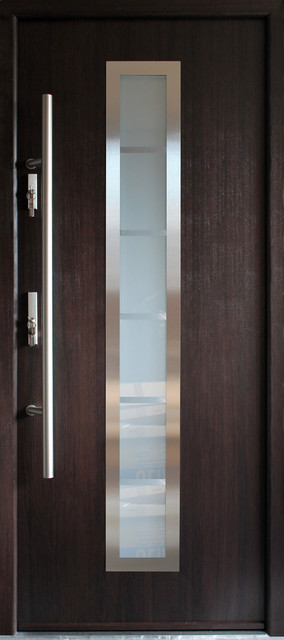 Stainless Steel Modern Entry Door Wenge Finish