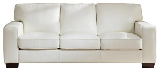 Kimberlly Leather Craft Sofa, Ivory White.