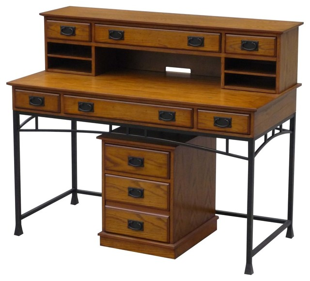 Modern Craftsman Executive Desk, Hutch and Mobile File Set industrial-desks -and- - Modern Craftsman Executive Desk, Hutch And Mobile File Set