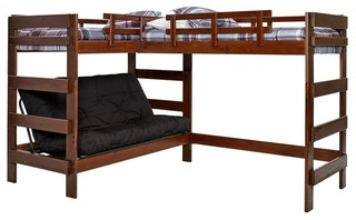 Hutchinson Mocha Sleeps 3 or 4 Futon Bunk/Loft Bed, Bed Only