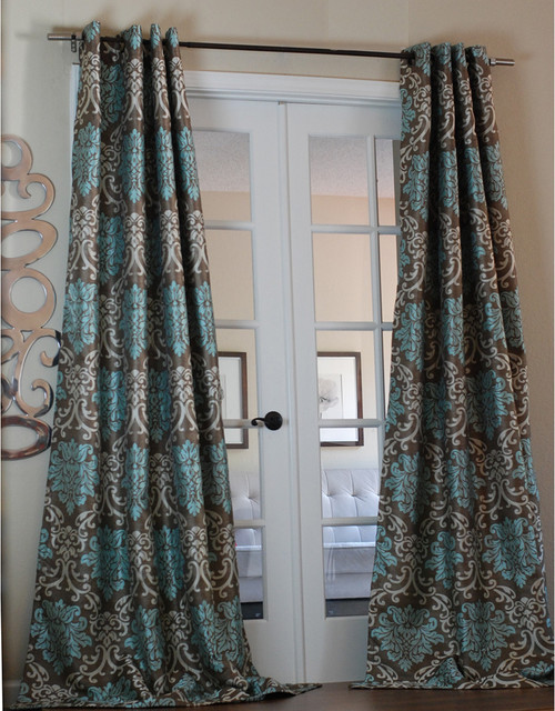 Milan Damask Smoky/Teal 96-inch Curtain Panel - Contemporary ...