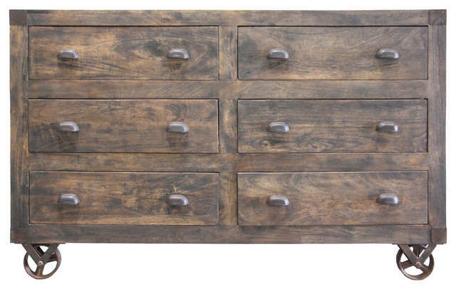 Six Drawer Wooden Chest With Moving Wheels.