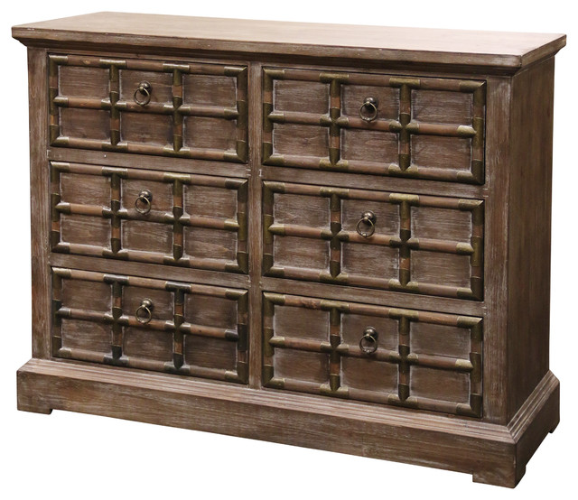 Rustic 6-Drawer Cabinet With Brass Strap Accents, Dark Pine.