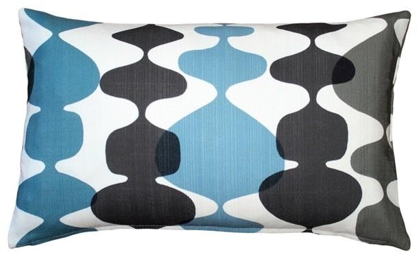 Pillow Decor - Lava Lamp Charcoal Cream 12x20 Throw Pillow