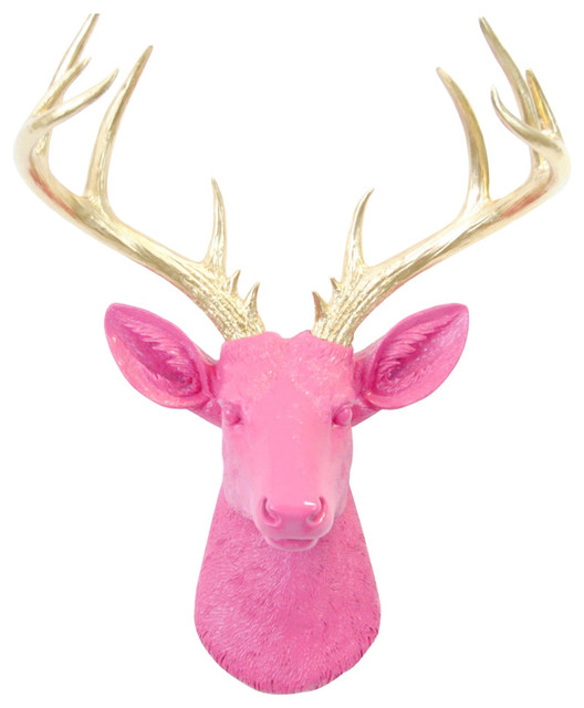 Faux Large Deer Head Wall Decor, Pink and Gold - Contemporary - Wall ...