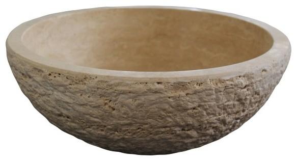 Textured Natural Stone Vessel Sink - Travertine, Light Travertine.