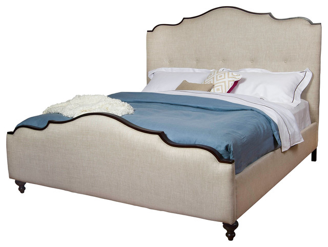 bde1b267bdb0 Yvonne French Country Scalloped Top Upholstered Queen Bed - Traditional -  Beds - by Kathy Kuo Home