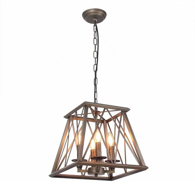 4 Lights Trapezoid Metal Pendant Lamp Industrial Edison Hanging