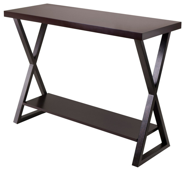 Contemporary Hall Table winsome wood korsa hall table w/ dark bronze legs in cappuccino