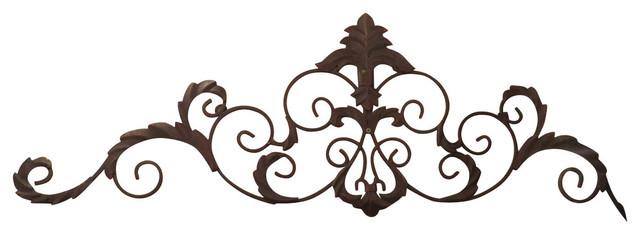 "47"" Iron Fleur De Lis Wall Grille Topper, Scroll Overdoor Metal Ornate."