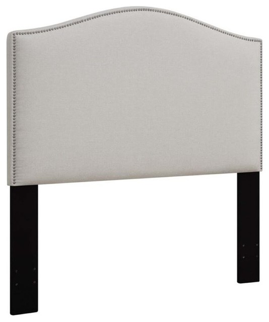 Pemberly Row Upholstered King California King Panel Headboard, White.
