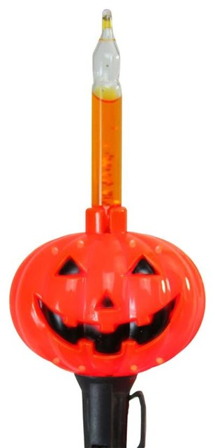 Set Of 10 Orange Pumpkin Halloween Bubble Light Set, Black Wire.