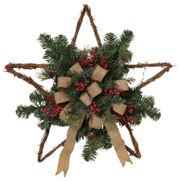 Twig Holiday Star Wall Hangings With Berry And Burlap Bow Accents, Set Of 2.