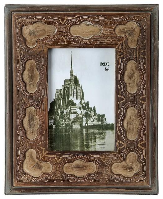 Zeckos Photo Frame Vintage Look Western Style Wooden 4x6
