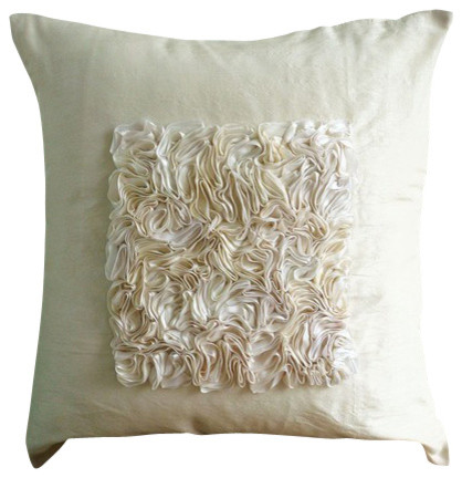 """Ivory Ribbon Throw Pillows Cover, 20""""x20"""" Silk Pillow Covers, Vintage Love."""