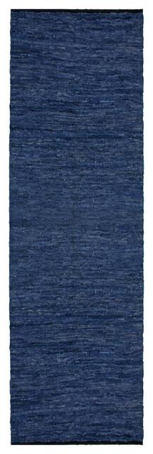 Blue Matador Leather Chindi (2.5&x27;x8&x27;) Runner.