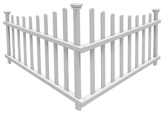 Ashley No Dig Vinyl Corner Picket Accent Fence