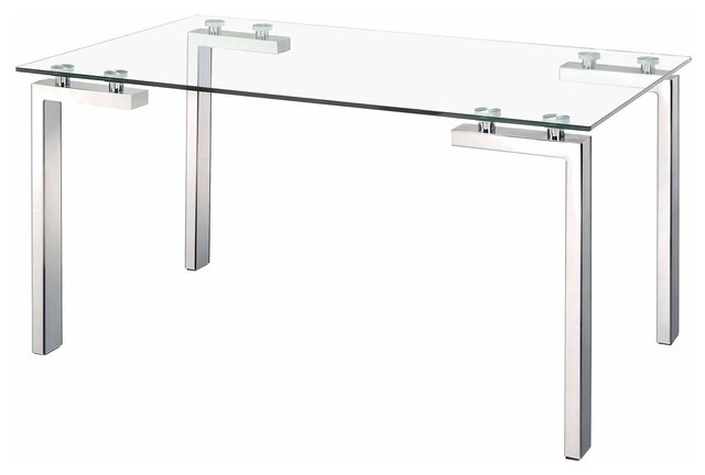 Zuo Roca Modern Dining Table, Polished Stainless Steel