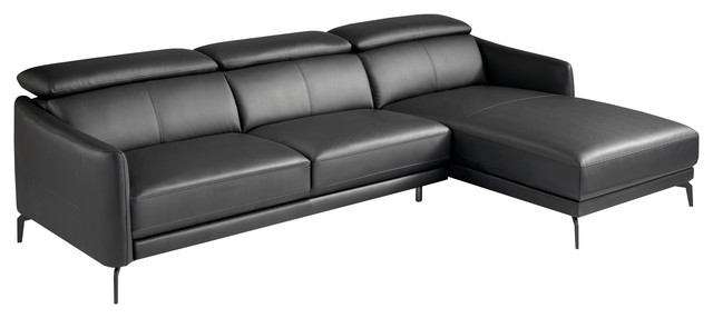 Black Leather Chaise Lounge Sofa With Stainless Steel Legs Right Facing