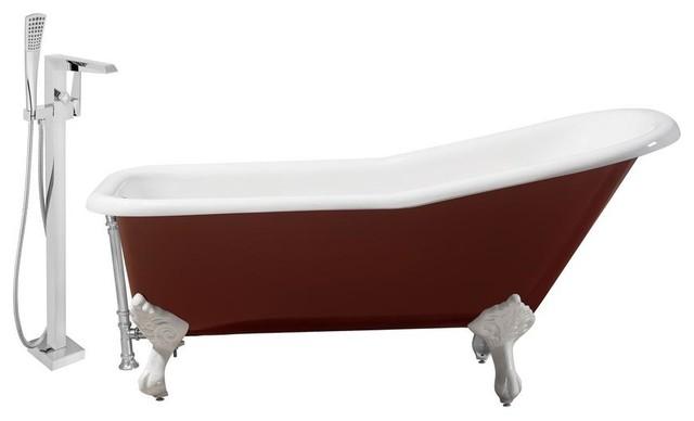 """Streamline 66"""" Faucet/cast Iron Tub Set, Chrome Popup Drain, Showerhead H-100."""