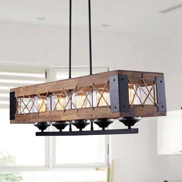 Rustic Wood Kitchen Island Lighting 5 Light Industrial Kitchen Island Lighting By Lnclighting Llc Houzz