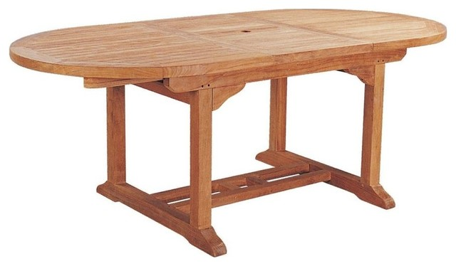 Bahama Oval Extension Table W Extra Thick Wood   Unfinished