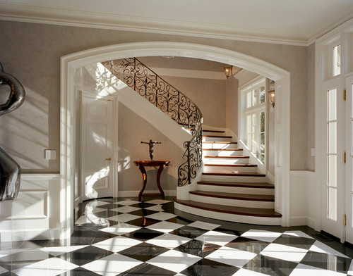 Pictures Of Traditional Foyers : Entry foyers checkerboard vs hardwood flooring