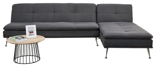Palmdale Convertible Sectional Sofa Bed, Charcoal