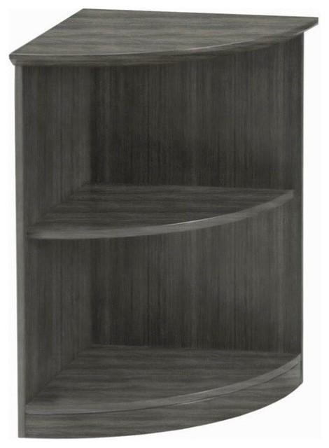Mayline Medina Bookcase (2 Shelf 0.25 - Round) in Gray Steel